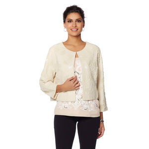 NEW! LaBellum Embroidered Beaded Jacket, Ivory